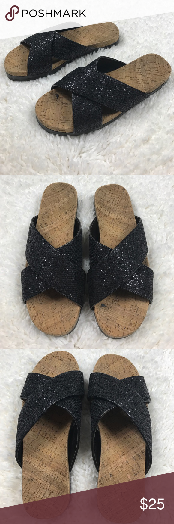 b51482ab5b2 Aldo Glitter Cork Footbed Slide Sandals Size 9 Aldo Glitter Cork Footbed Slide  Sandals Black Size 9 A few scuffs on the trim - see photos Aldo Shoes  Sandals