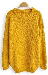 Yellow Long Sleeve Serratula Loose Pullovers Sweater