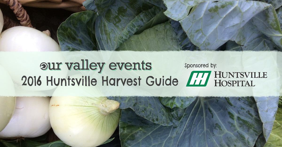 Huntsville Harvest Guide, a directory of local food in Huntsville AL including farmers markets, farms, u picks, artisans, harvest guides, and more.