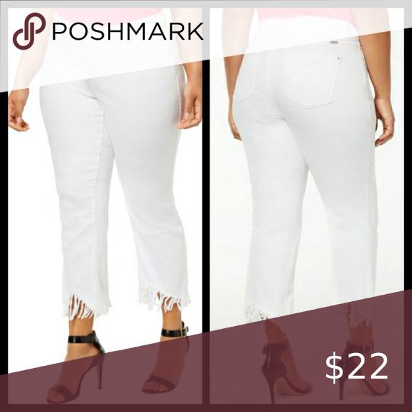INC White Fringed Jeans Size 18W & 24W NWT