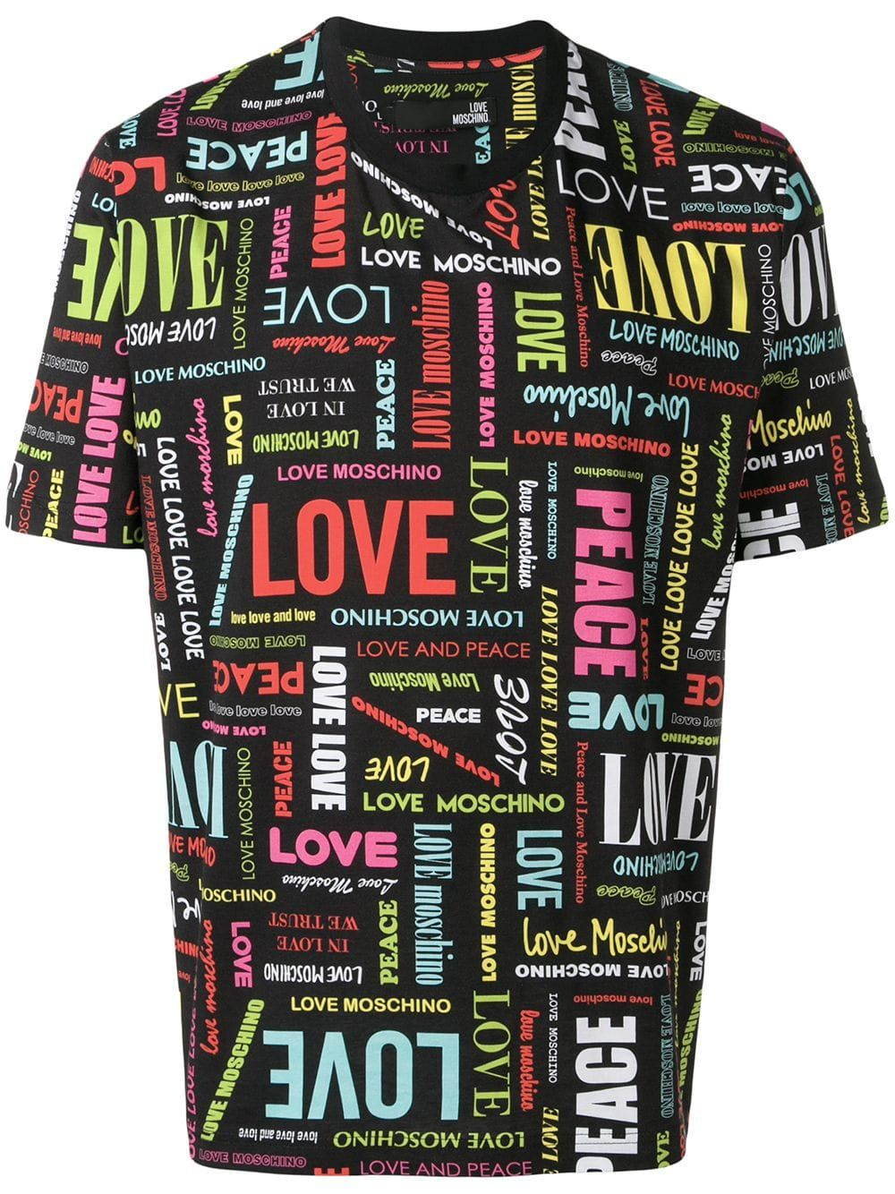 Love Pattern T In Black Printed Polo Shirts Moschino Love Moschino