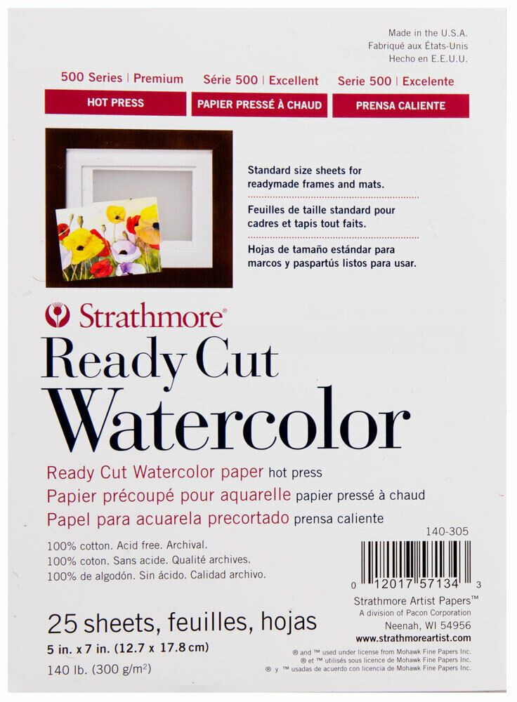 Strathmore Ready Cut Watercolor Paper 140 Lb Hot Pressed 5x7 Pack