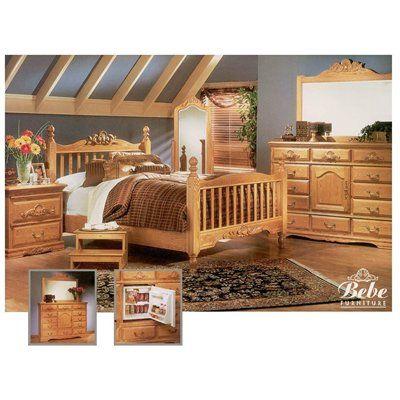 Bebe Furniture Country Heirloom Four Post Rake Suite Bedroom Set Light Oak Wow