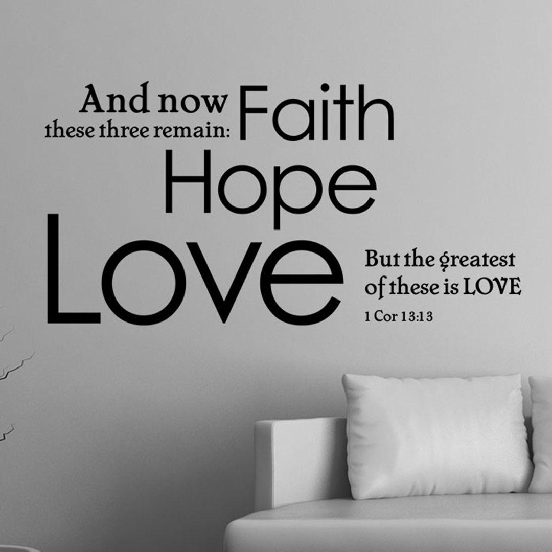 1 Corinthians 13 13 Scripture Wall Decal Faith Hope Love Scripture Wall Decal Christian Vinyl Wall Art Christian Wall Decals