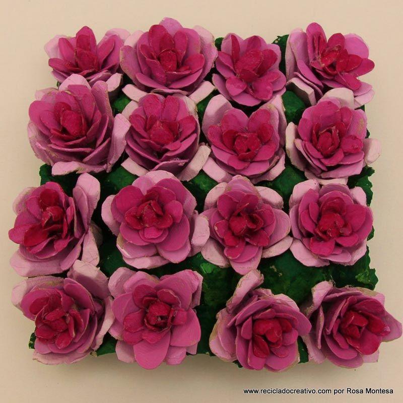 Flores Rosas Con Hueveras De Carton Egg Carton Flowers Flor De