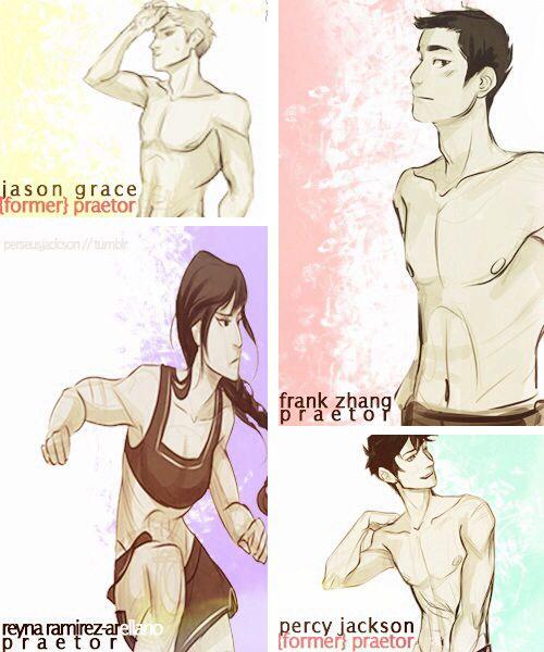 Jason Grace Former Praetor, Frank Zhang Praetor, Percy Jackson Former Prartor, Reyna Praetor