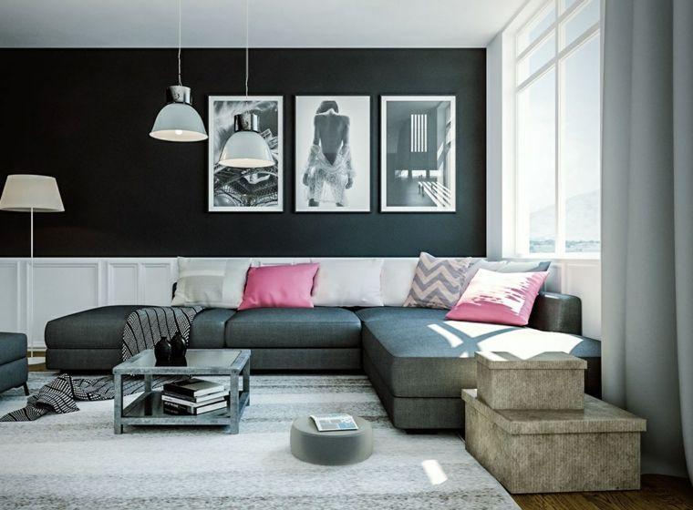Salones clasicos modernos contemporáneos y más | Paredes negras ...