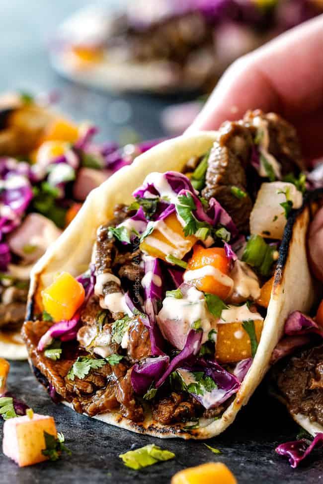 Beef Bulgogi Korean Tacos with Asian Pear Mango Slaw and ...