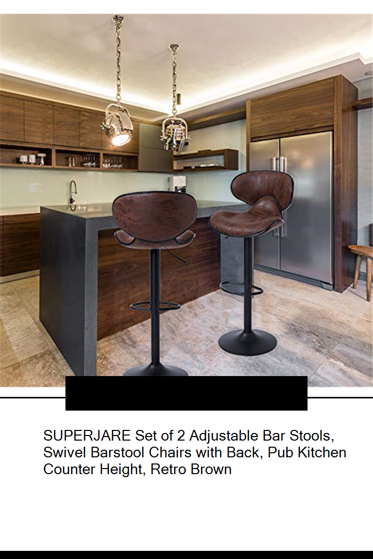 Vintage Brown Fabric Swivel Barstool Chairs with Back Pub Kitchen Counter Height SUPERJARE Set of 2 Adjustable Bar Stools