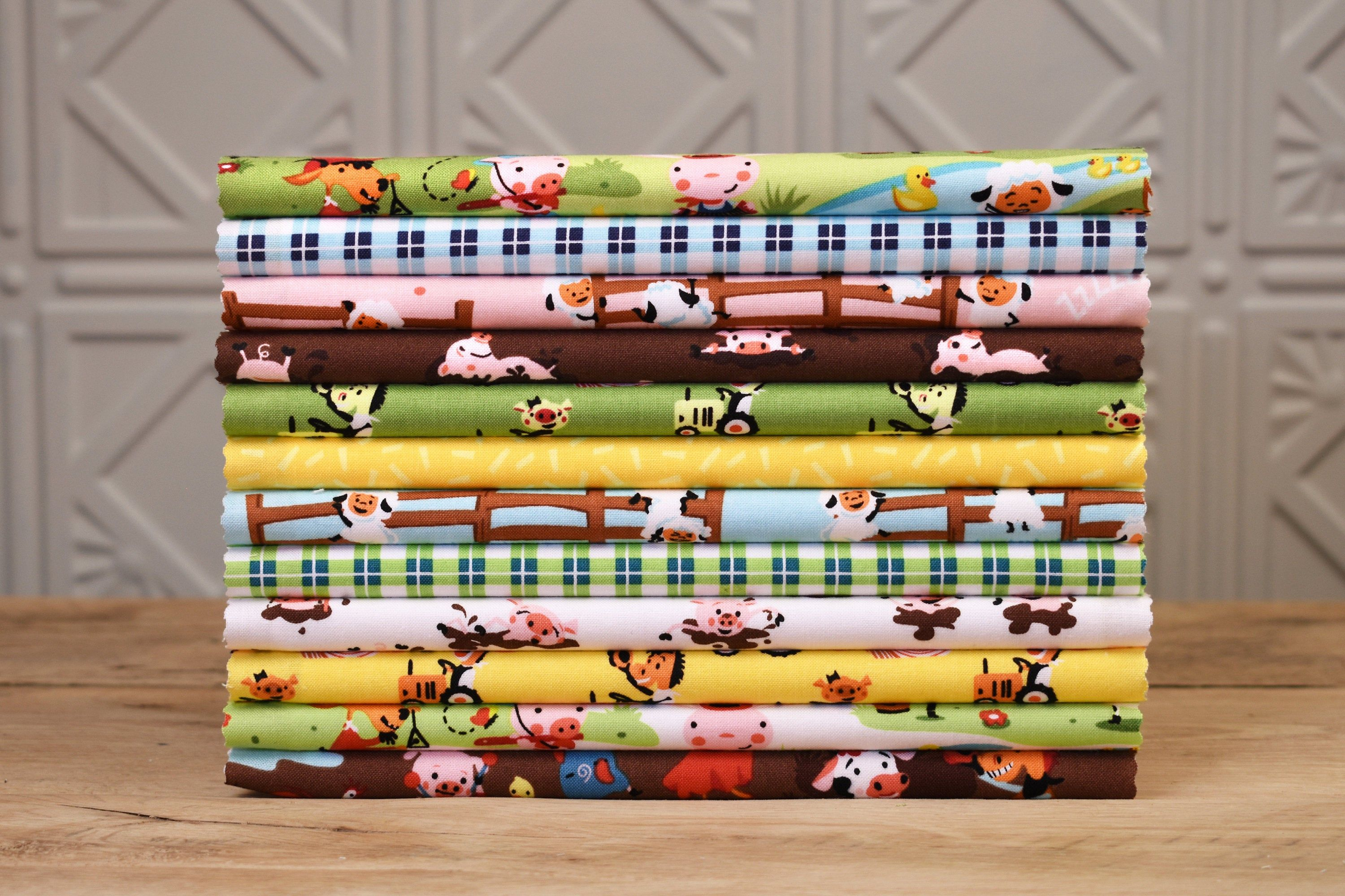 Precut Quilt Kit Top Only Farm Animal Theme Quilting Cotton Fabric From Riley Blake Instructions For Quilt Top Included Quilt Kit Quilt Kits Precut Quilts