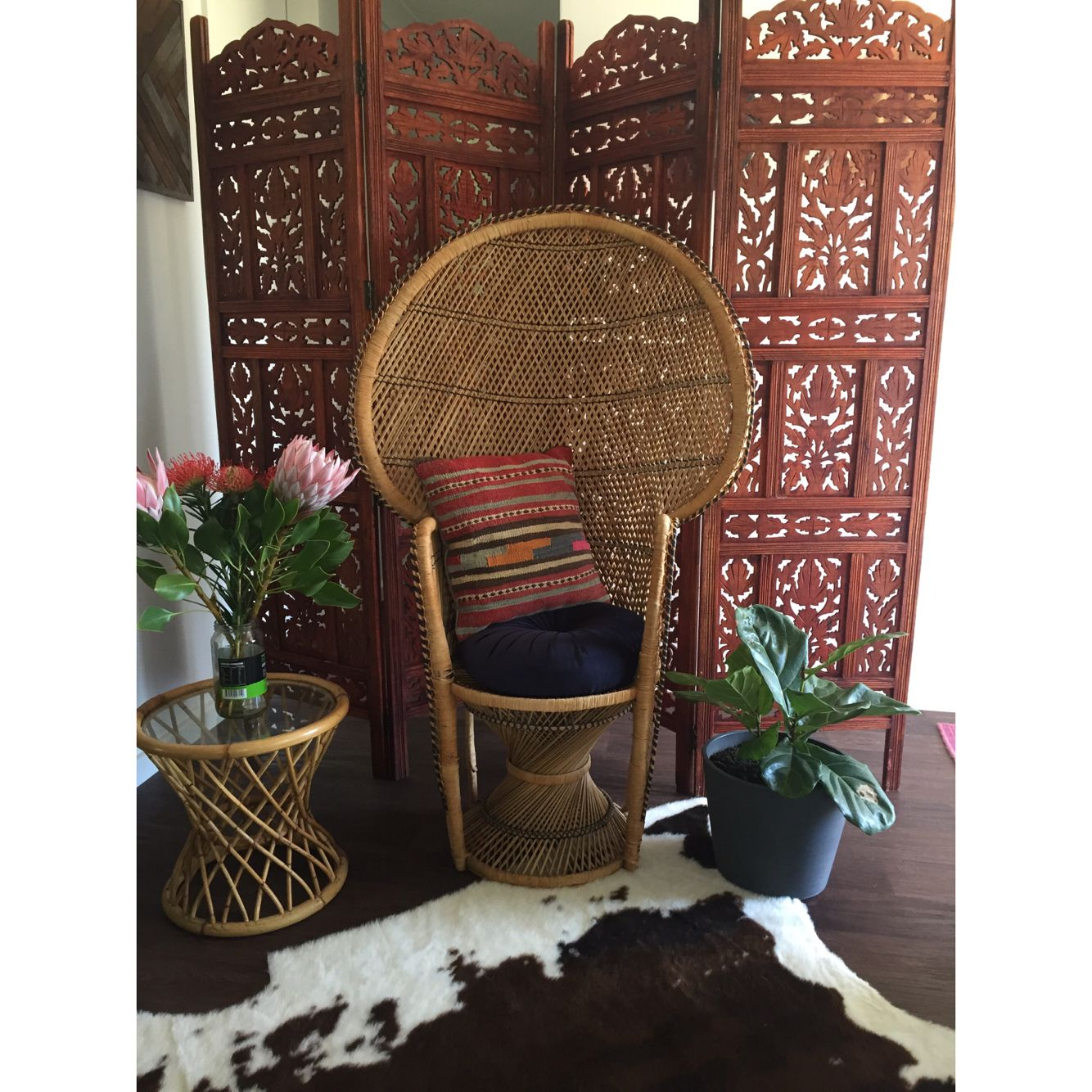 Cane Furniture Perth Bohemian Boho Peacock Chair Balinese Screen Baby Shower Picnic