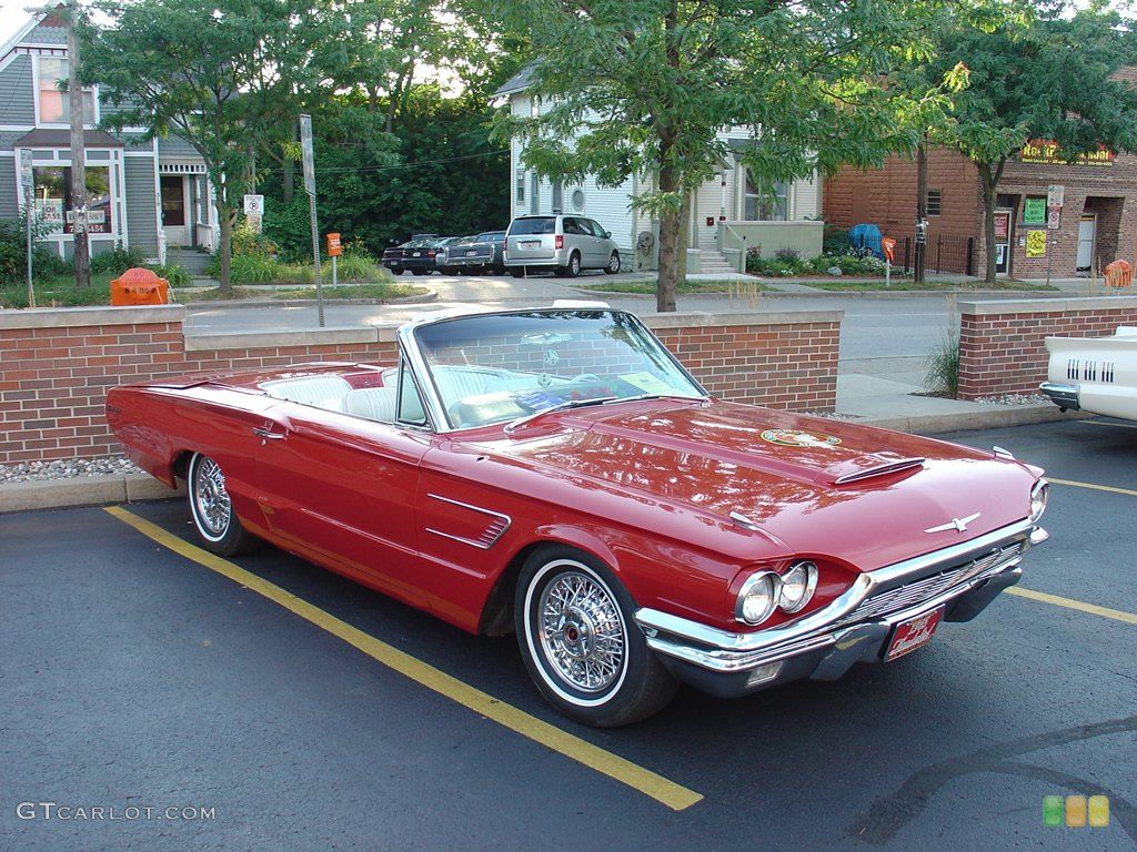 1965 ford thunderbird convertible candy apple red with a white convertible top fully loaded