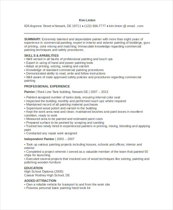painter insurance underwriter resume example sample for painting - sample resume for painter