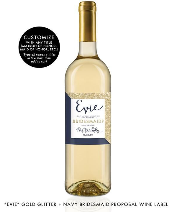 """""""Evie"""" Gold Glitter + Navy Bridesmaid Proposal Wine Labels"""