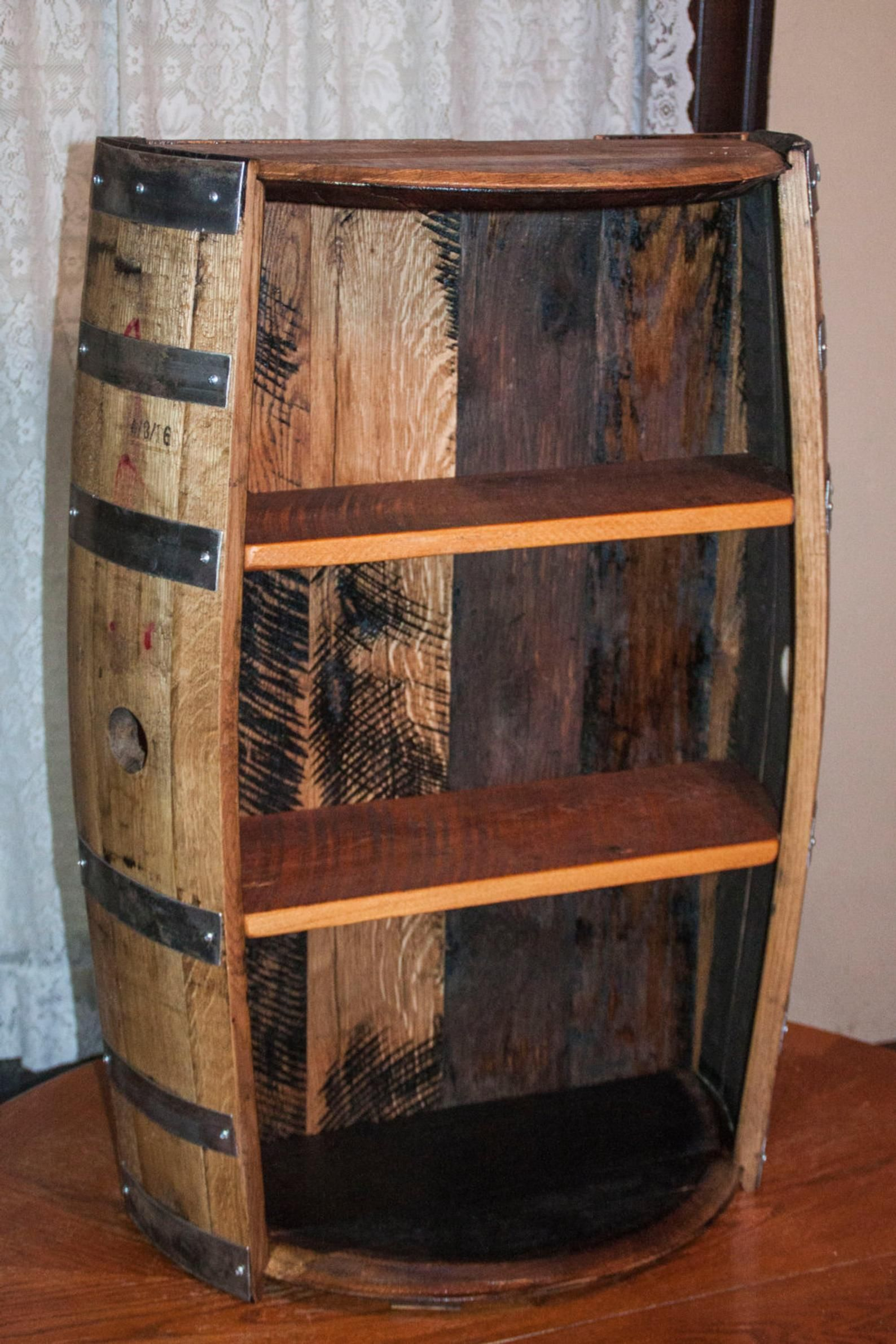 Bourbon Barrel And Reclaimed Barn Wood Shelf Etsy Wine Barrel Furniture Whiskey Barrel Furniture Barn Wood