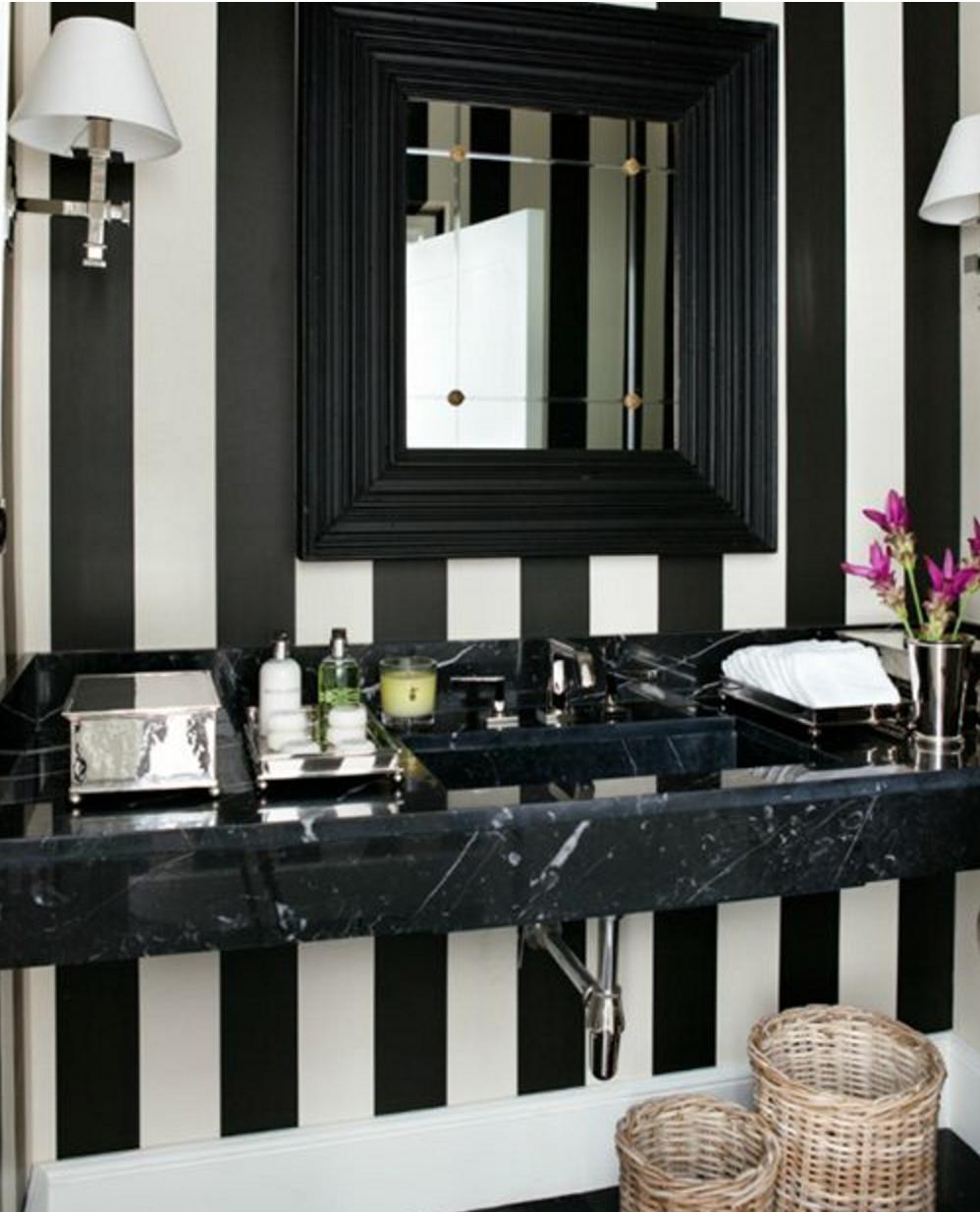Elegant Striped Bathroom Design Is Both Playful And Elegant.