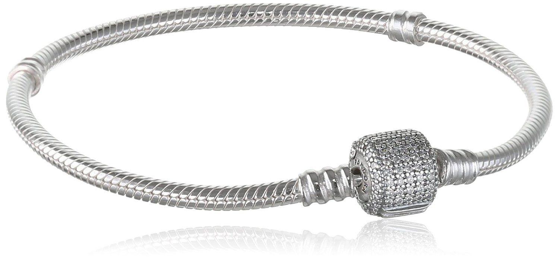 Pandora bracelet cz womenus silver signature moments