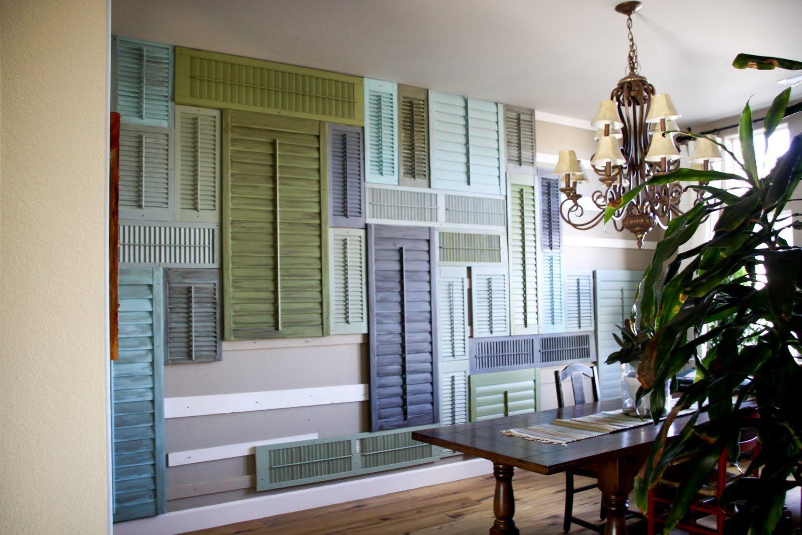 Using shutters as wall art. Shutter wall, Shutter decor