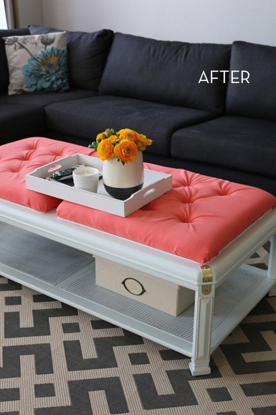 Diy Upholstered Ottoman Made From An Old Coffee Table