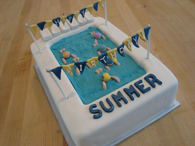 Swimming Pool Birthday Cake Yellow Cake Carved For Pool With Fondant Decorations And Blue