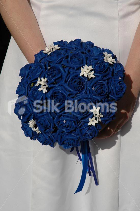 Beautiful Royal Blue Rose Bridal Bouquet with White Stephanotis ...