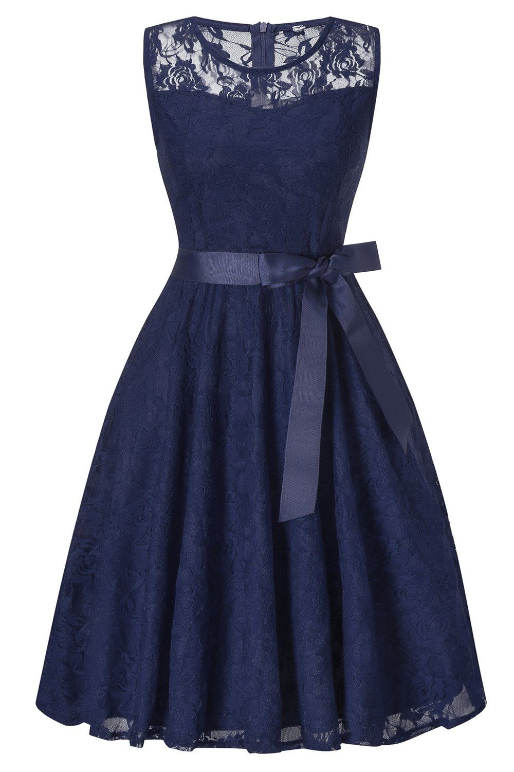 MisShow Damen Elegant Spitzen Rockabilly Abi Ball Kleid