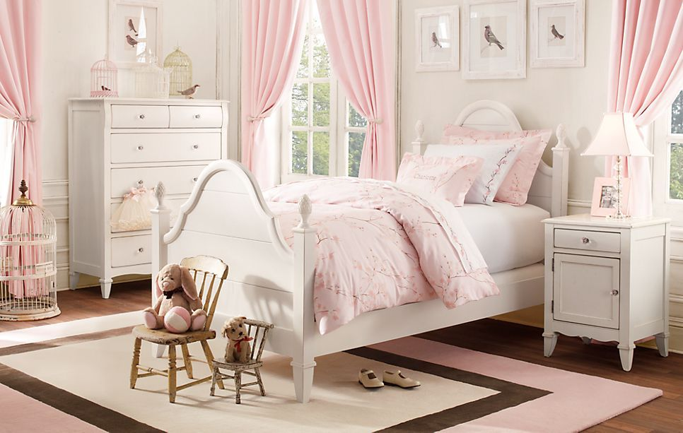 A bedroom for a young lady who loves Pink & White with a ...