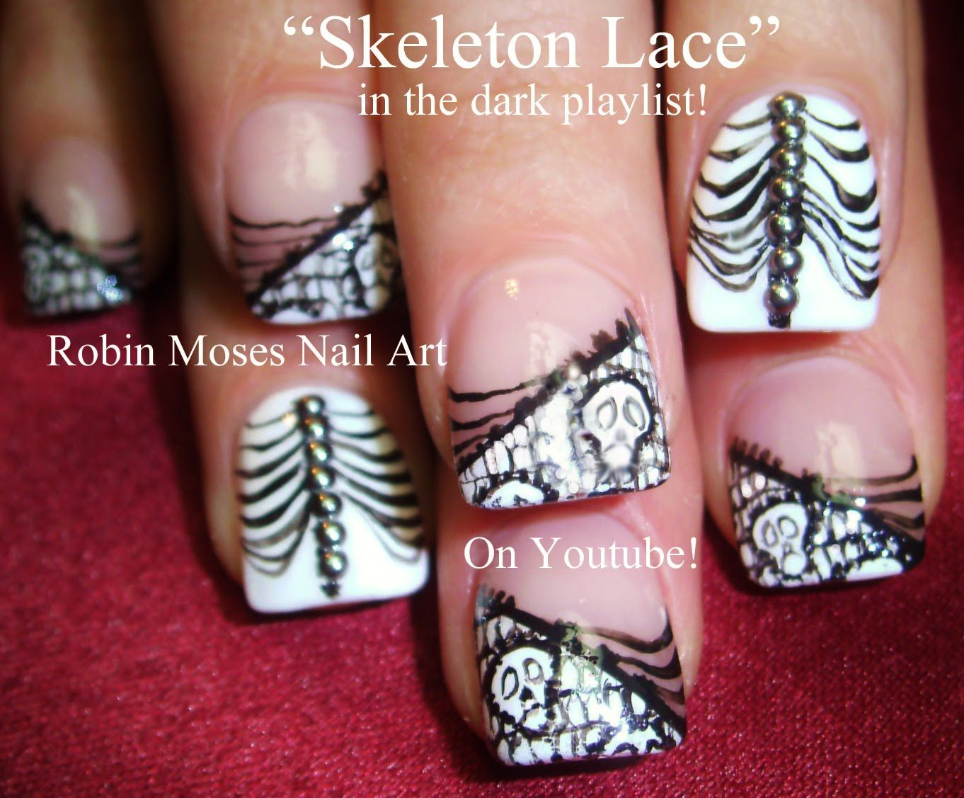 DIY Nail Art For Short Nails - Skeleton Lace Nails Tutorial | Fall ...