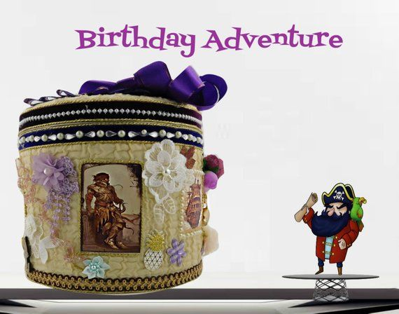 "Birthday gift box for boys. Adventure toy storage ""Pirates and ships"" with royal purple ribbons. Gift wrapped, Personalized with event Tag"