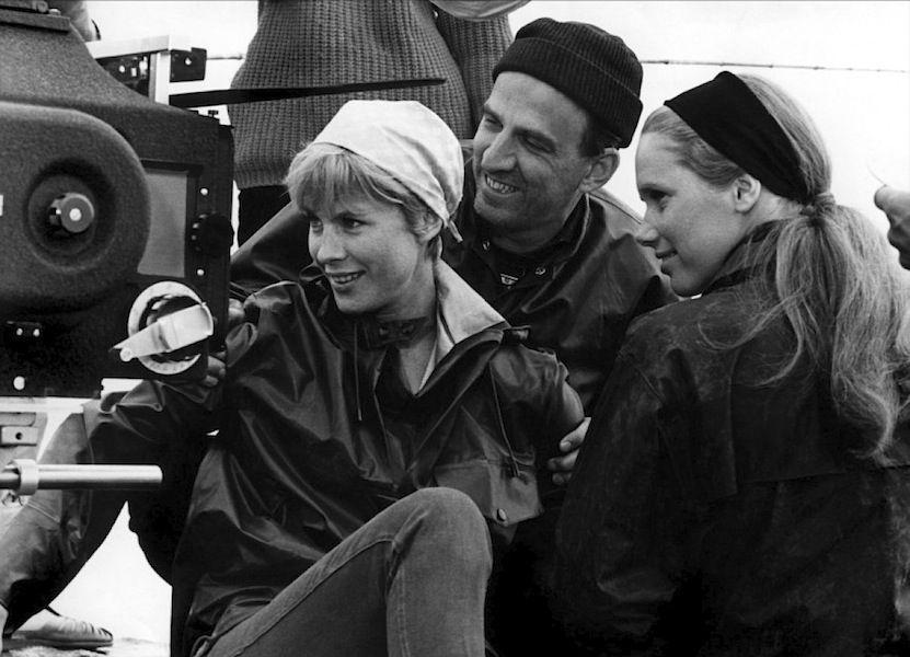 Bibi Andersson, Ingmar Bergman and Liv Ullmann on the set of Persona.