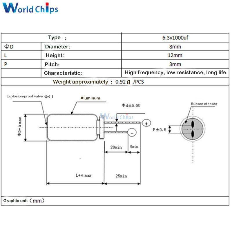 100pcs 10v 330uf 10volt 330mfd 105c aluminum electrolytic capacitor 6×7mm