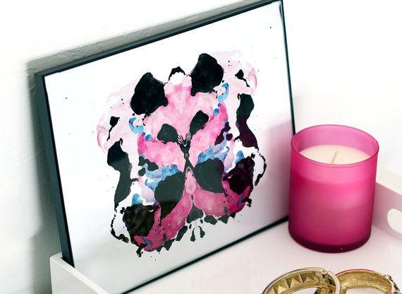 Rorschach Ink Blot Watercolor Giclee Print 'Papillon' 8 x 10. $22.00, via Etsy.