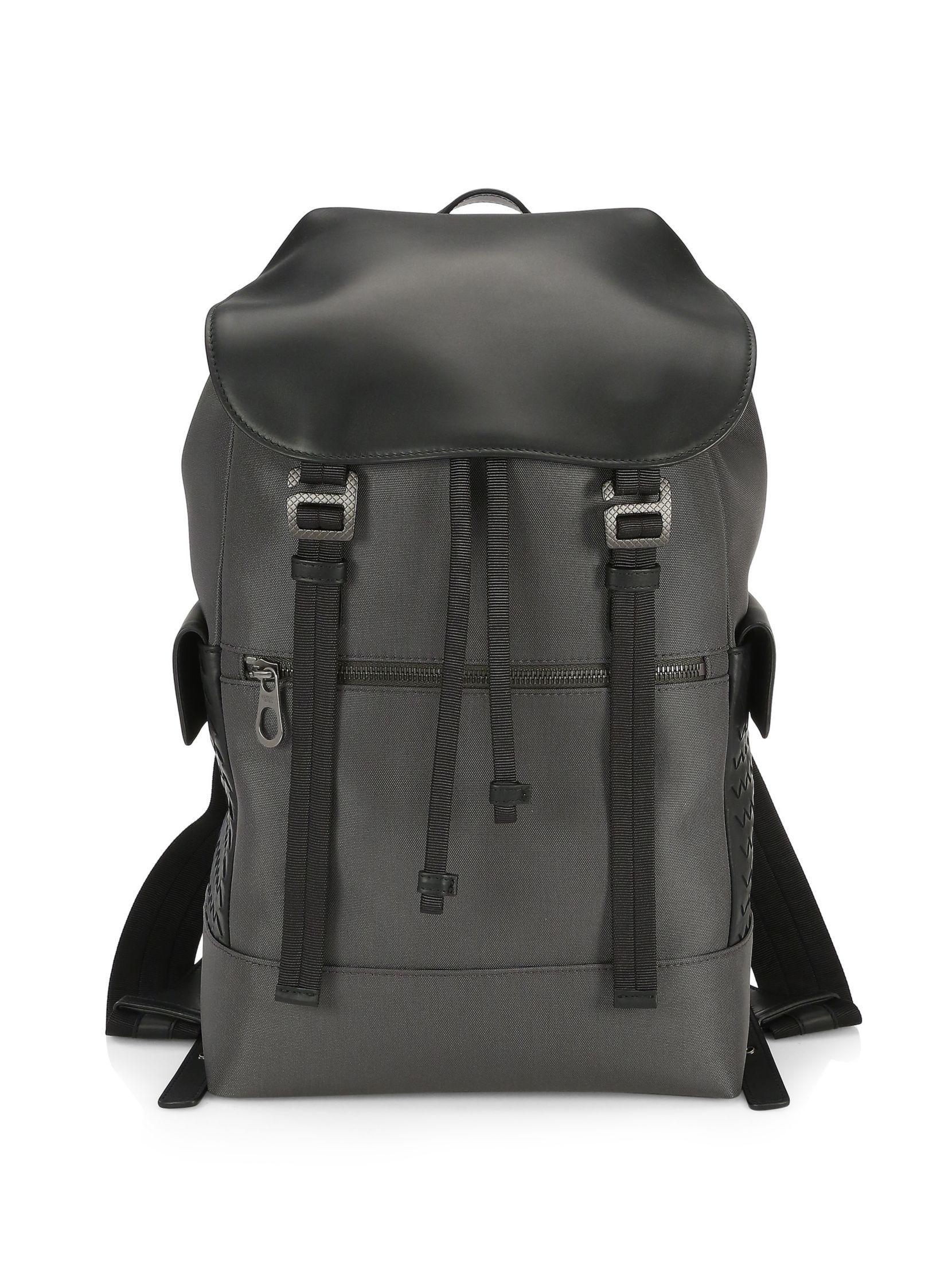 e9d933dcab Bottega Veneta Intrecciato Trim Canvas Backpack
