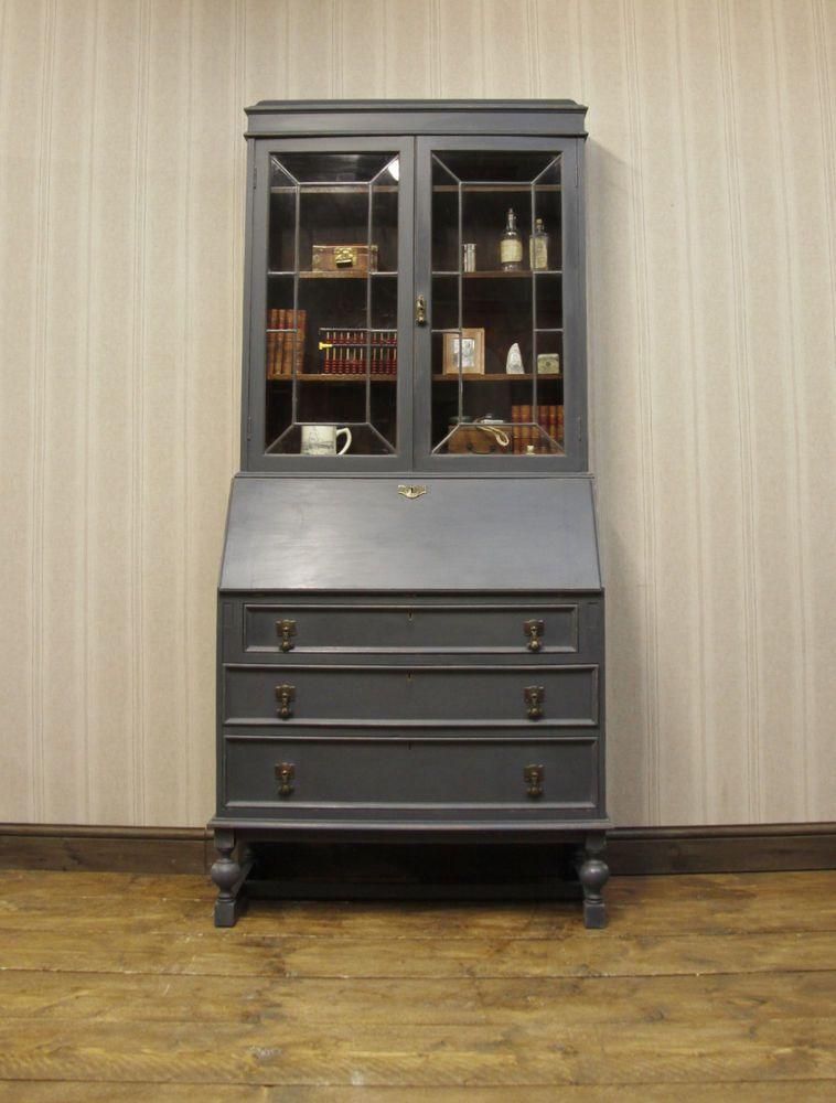 antique bureau bookcase masculine painted desk with bookcase top lockable bureaux