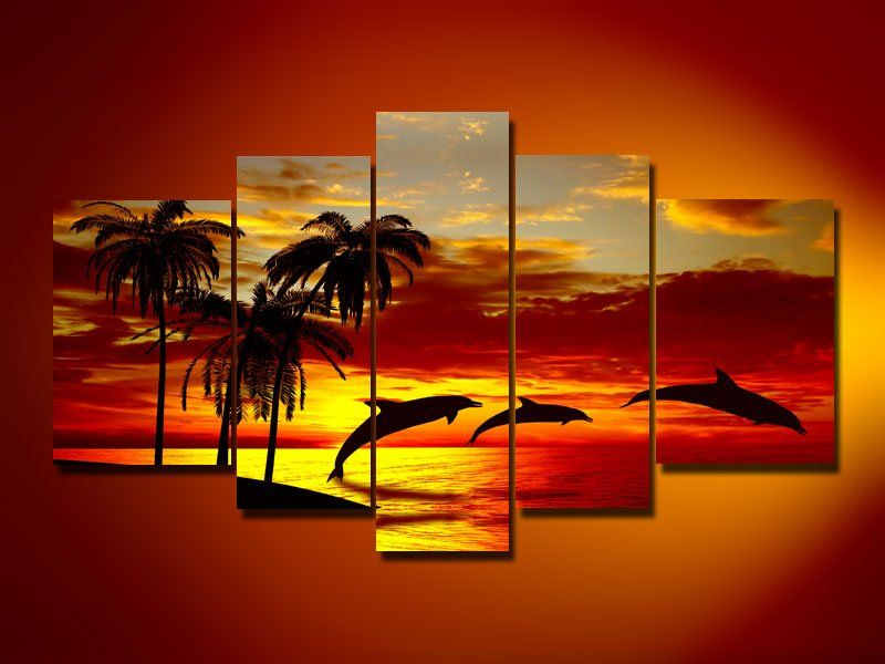 Hand painted oil wall art sunrise beach dolphins home decoration abstract landscape oil painting on canvas 5pcs set mixordechina mainland yesssss