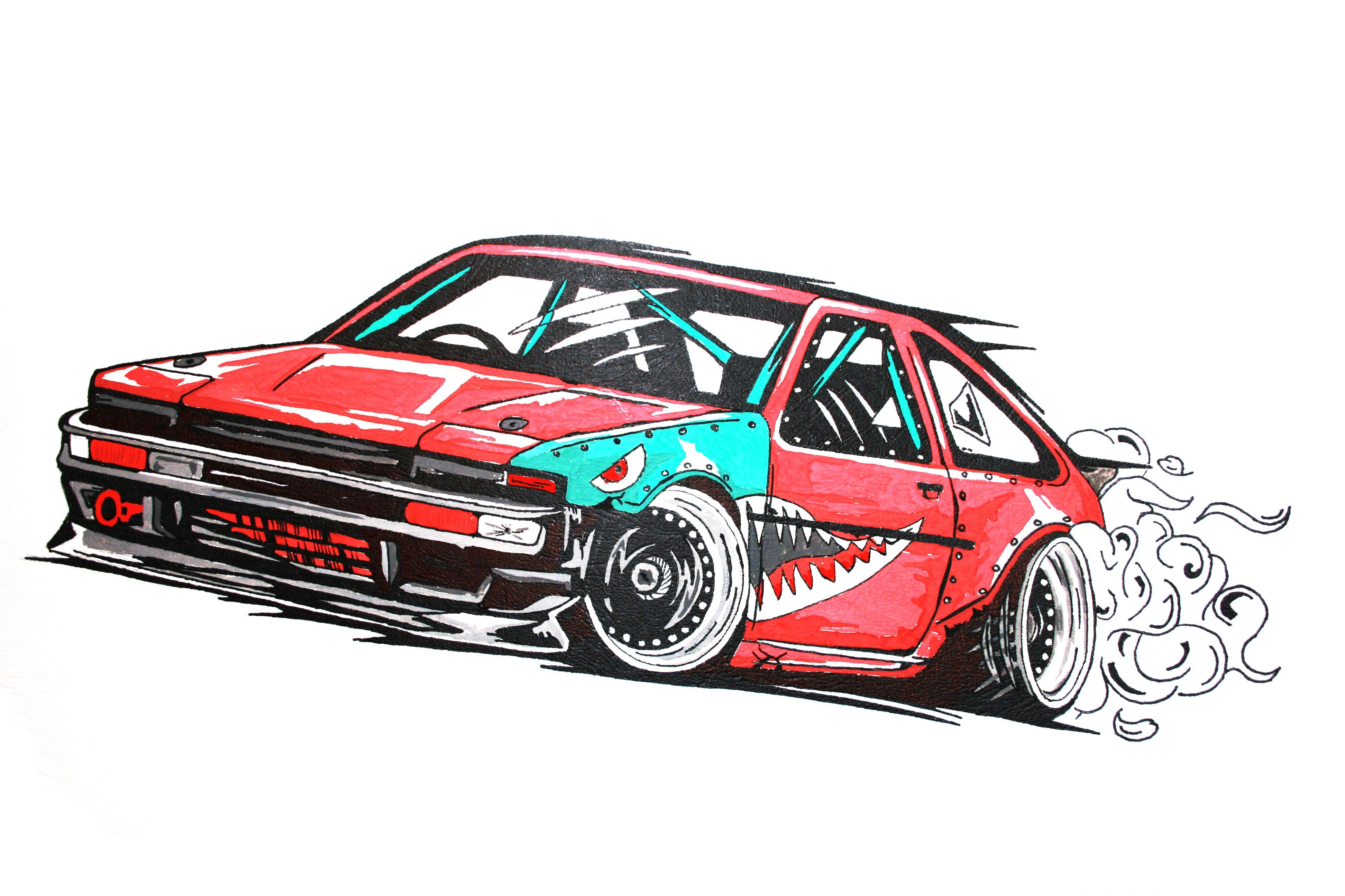 toyota corolla ae86 drift car illustration my
