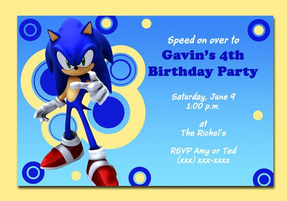 78 Best images about Ewans 7th birthday – Sonic Birthday Invitations