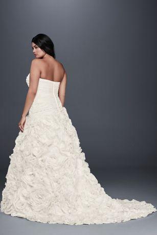 Rosette Skirt Plus Size Wedding Dress Style 9op1304