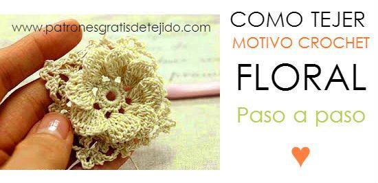 Cómo tejer flor en cuadro crochet relieve paso a paso | CUADROS ...