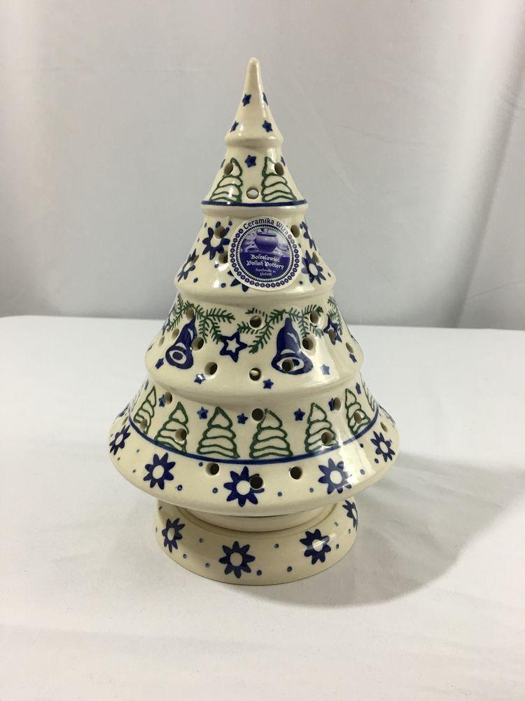 Boleslawiec Polish Pottery Christmas Tree Christmas Tea Light Luminary New Porzellan