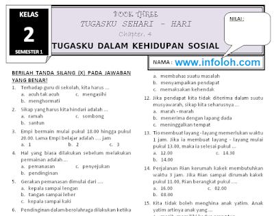 Soal Tematik Kelas 2 Tema 3 Subtema 4 Tugasku Dalam Kehidupan Sosial Terbaru Sekolah Tanda Nama