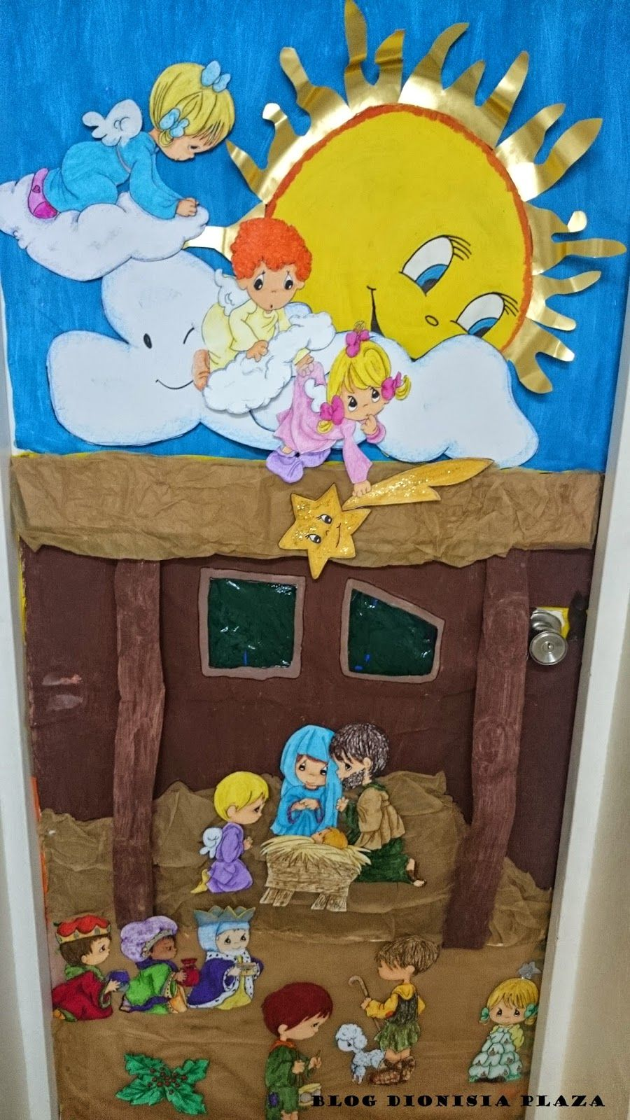 Puertas navide as navidad pinterest navidad puertas for Decoracion puerta aula infantil