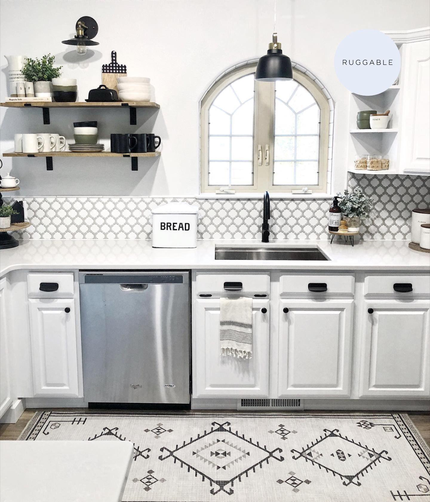 Black And White Kitchen Inspiration White Kitchen Inspiration Kitchen Inspirations Black White Rug