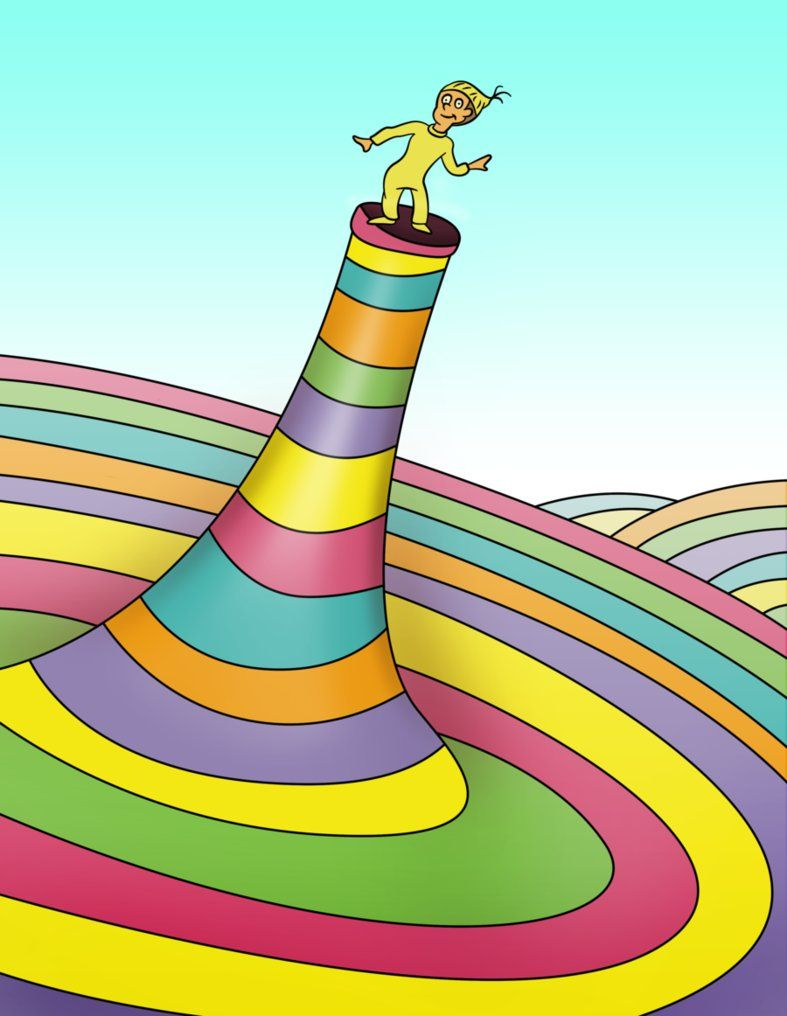 "A vector illustration of Dr. Seuss' ""Oh, The Places You'll Go!"" Made in  Photoshop CS5 using the pen tool w/gradients."