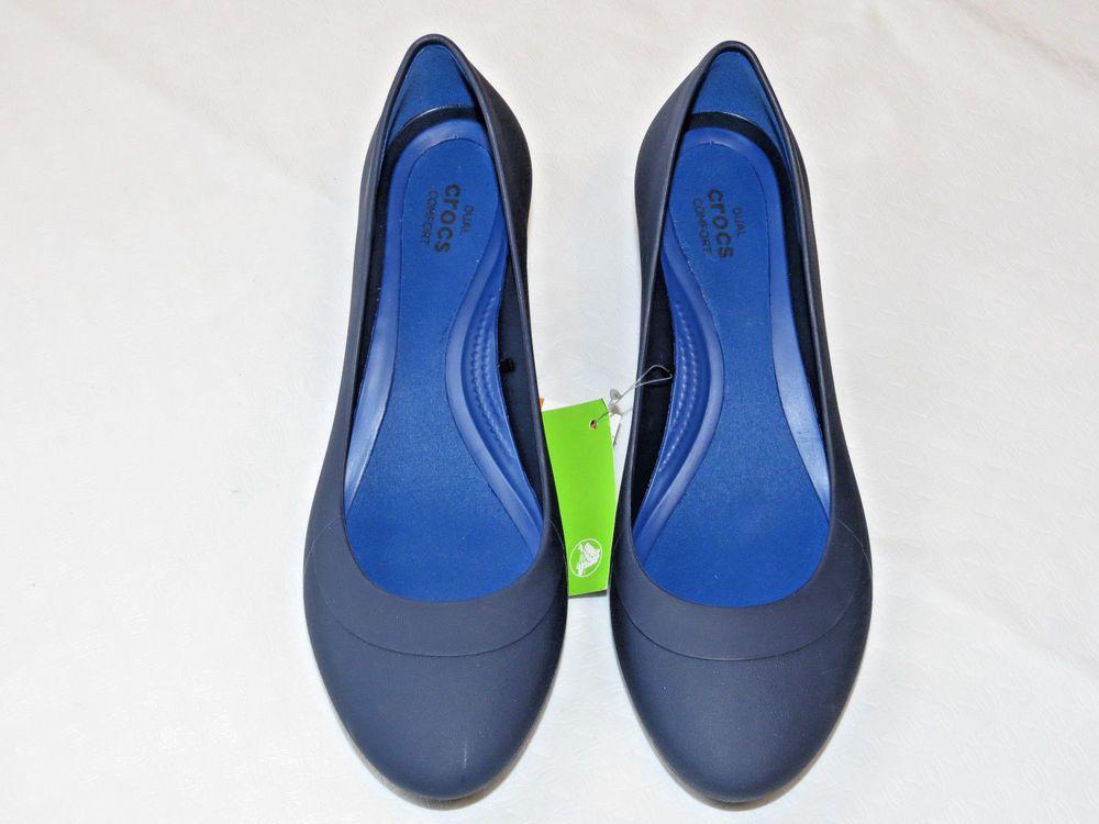 56e2aa58c35 Womens crocs Lina Wedge Pump shoe W 9 W9 Standard Fit Navy Blue 203408 NWT   Crocs  Wedge