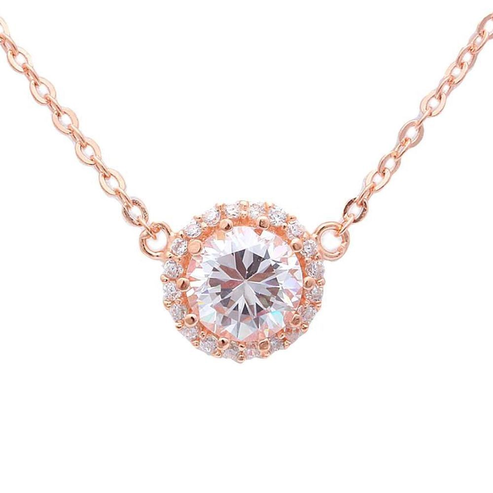 Ct round bezel set halo cz rose gold plated sterling silver pendant