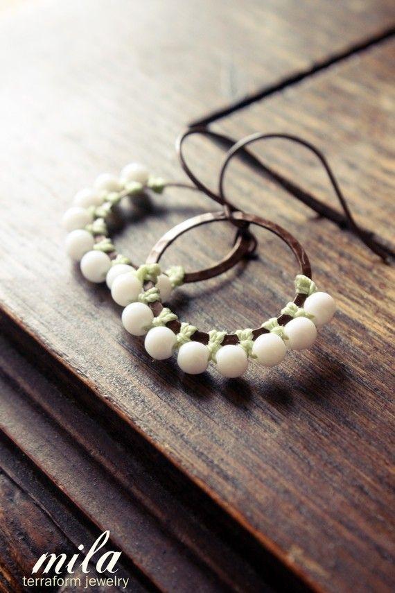 MILA macrame earrings - white glass beads - brass hoops - celadon knotted cord - modern fringe.