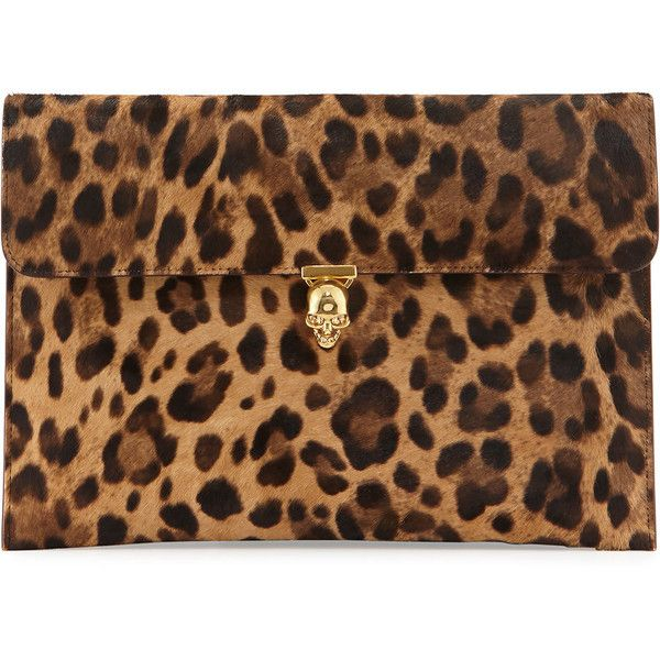 965f2d94238 Alexander McQueen Leopard-Print Pony Hair Envelope Clutch Bag ...