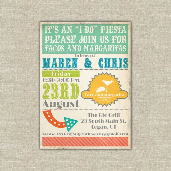 Printable Rehearsal Dinner Invitation Fiesta Mexican Taco