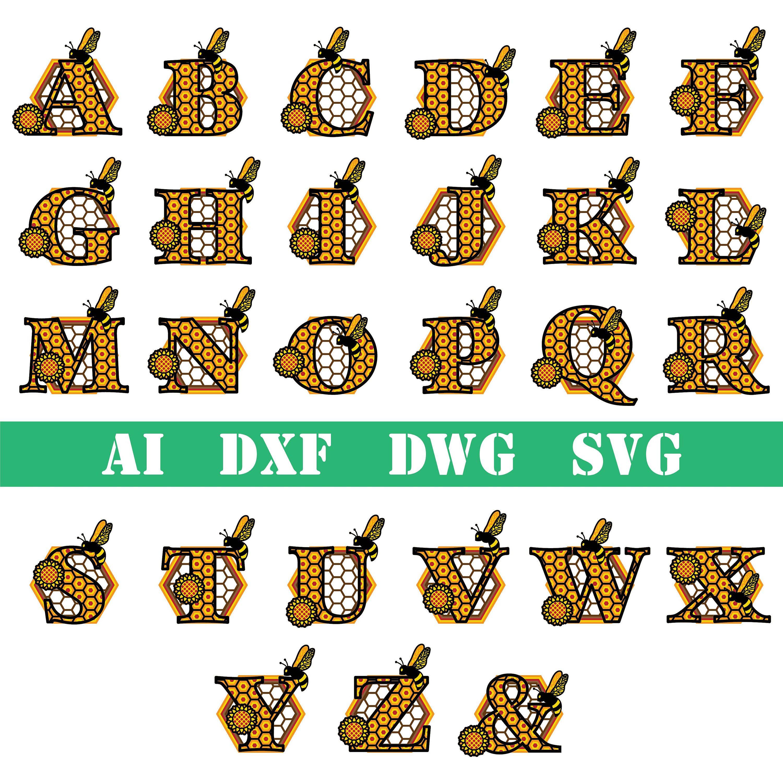 Download Bee sunflower Multi layer 6 layers mandala alphabet letter ...